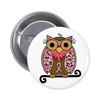 Pink Ribbon Owl 6 Cm Round Badge