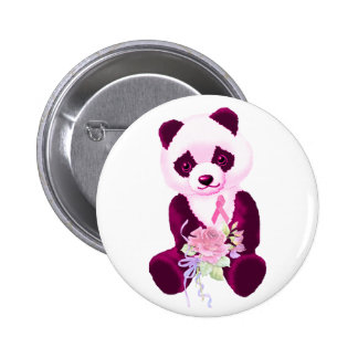 Pink Ribbon Panda Bear 6 Cm Round Badge