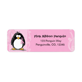 Pink ribbon penguin return address labels