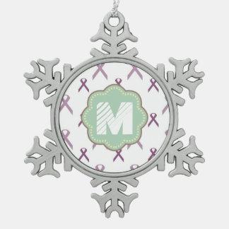 Pink Ribbon Pewter Snowflake Decoration