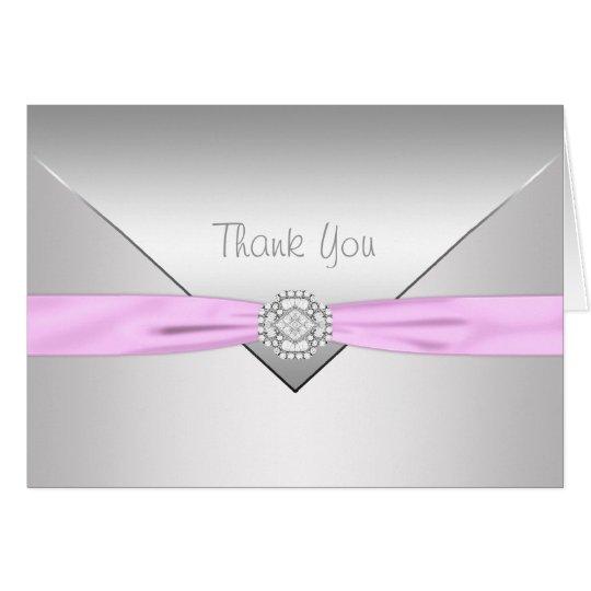 Pink Ribbon Pink Elegant Thank You Card