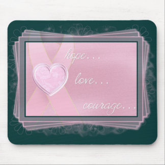 Pink Ribbon/Pink Heart Hope/Love/Courage Mousepad