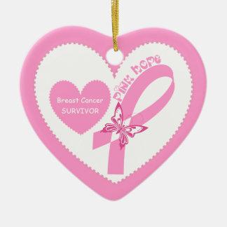 Pink Ribbon Pink Hope Breast cancer awareness Ceramic Heart Decoration