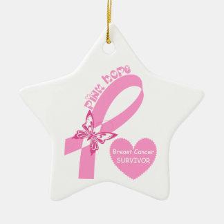 Pink Ribbon Pink Hope Breast cancer awareness Ceramic Star Decoration