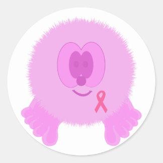 Pink Ribbon Pom Pom Pal Stickers