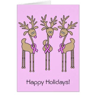 Pink Ribbon Reindeer - Breast Cancer Card