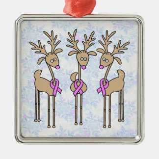 Pink Ribbon Reindeer - Breast Cancer Ornaments