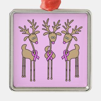 Pink Ribbon Reindeer - Breast Cancer Ornament