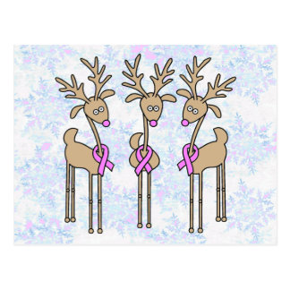 Pink Ribbon Reindeer - Breast Cancer Postcard