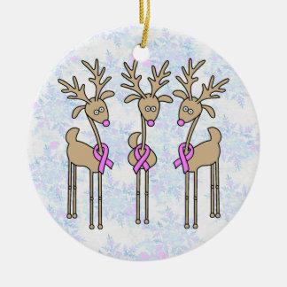 Pink Ribbon Reindeer - Breast Cancer Round Ceramic Decoration
