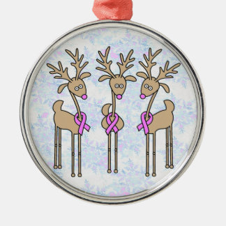 Pink Ribbon Reindeer - Breast Cancer Silver-Colored Round Decoration
