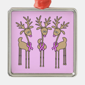 Pink Ribbon Reindeer - Breast Cancer Silver-Colored Square Decoration