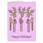 Pink Ribbon Reindeer Greeting Card