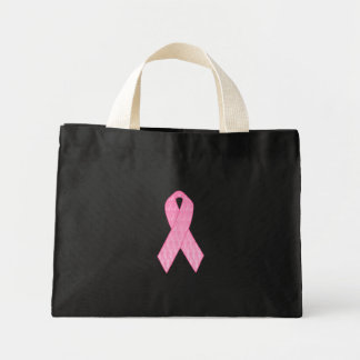 Pink Ribbon Repeating Mini Tote Bag
