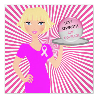 Pink Ribbon - Serving Love, Strength, and Courage 13 Cm X 13 Cm Square Invitation Card