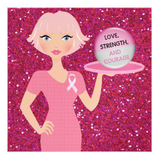 Pink Ribbon - Serving Love Strength and Courage Custom Invites