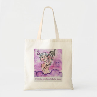 Pink Ribbon Shower Exam Budget Tote Bag