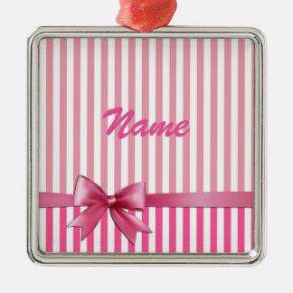 Pink Ribbon Silver-Colored Square Decoration