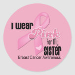Pink Ribbon Sister Breast Cancer Round Sticker