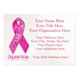 Pink Ribbon Sparkle gifts Large Business Cards (Pack Of 100)