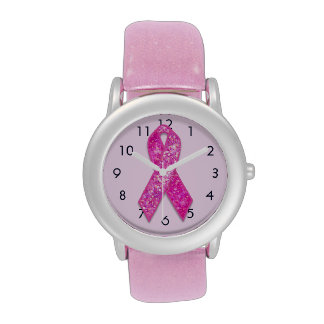 Pink Ribbon Sparkle glitter watch