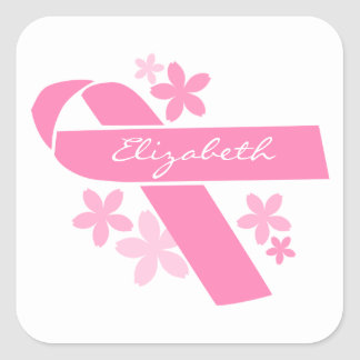 Pink Ribbon Square Sticker