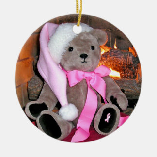 Pink Ribbon Teddy Bear Christmas Ornament