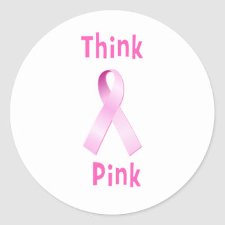 Pink Ribbon - Thnk Pink Round Sticker