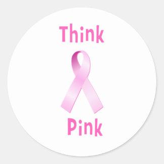 Pink Ribbon - Thnk Pink Round Sticker