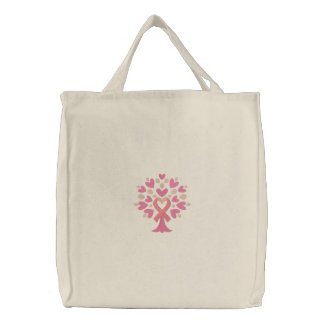 Pink Ribbon Tree Embroidered Bag