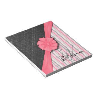 Pink Ribbon, Two Tone Grey Pink Stripes Notepad