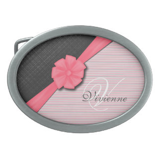 Pink Ribbon, Two Tone Grey Pink Stripes Oval Belt Buckles