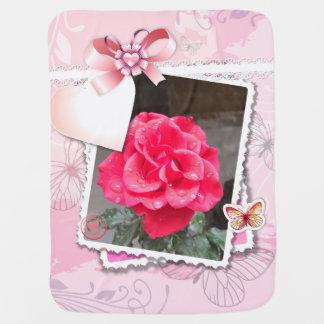 Pink ribbon Valentine's Rose scrapbook photo frame Buggy Blanket