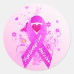 Pink Ribbon Vintage Round Sticker