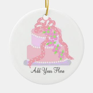 Pink Ribbon Wedding Cake Round Ceramic Decoration