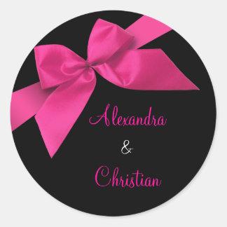 Pink Ribbon Wedding Invitation Announcement RSVP Round Sticker
