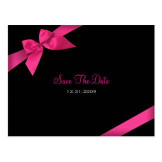 Pink Ribbon Wedding Save the Date 2 Postcard