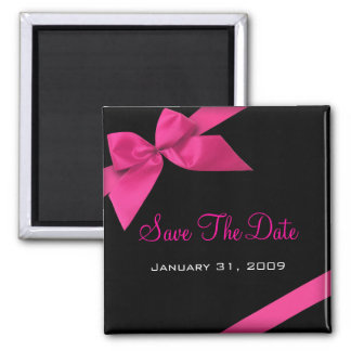 Pink Ribbon Wedding Save The Date Announcement1 Square Magnet