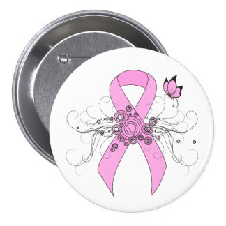 Pink Ribbon with Butterfly 7.5 Cm Round Badge