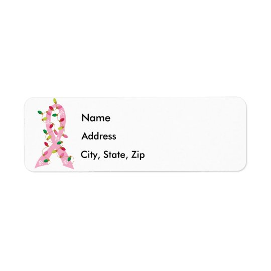 Pink Ribbon With Christmas Lights Breast Cancer
