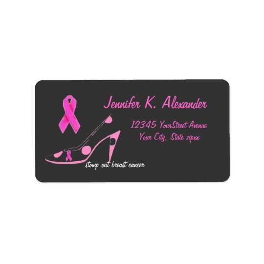 Pink Ribbon with polka dot shoe Label