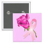 Pink Ribbon with Rose *Breast Cancer Awareness * Buttons