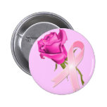 Pink Ribbon with Rose *Breast Cancer Awareness * Pin