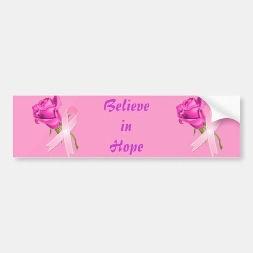 Pink Ribbon with Rose *Breast Cancer Awareness * Bumper Sticker