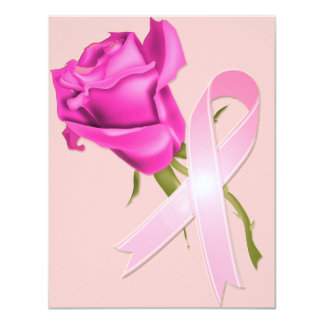 Pink Ribbon with Rose *Breast Cancer Awareness * Card