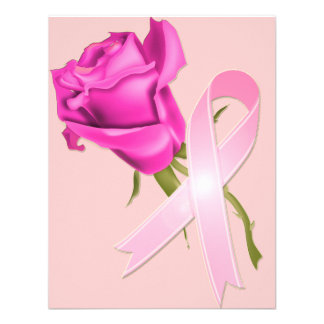 Pink Ribbon with Rose *Breast Cancer Awareness * Personalized Invites