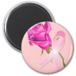 Pink Ribbon with Rose *Breast Cancer Awareness * Magnets