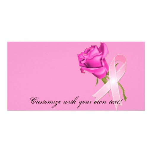 Pink Ribbon with Rose *Breast Cancer Awareness * Photo Card