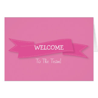 Pink Ribbon with White Border Cute Welcome Greeting Card