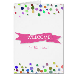 Pink Ribbon with White Border Polkadots Welcome Note Card